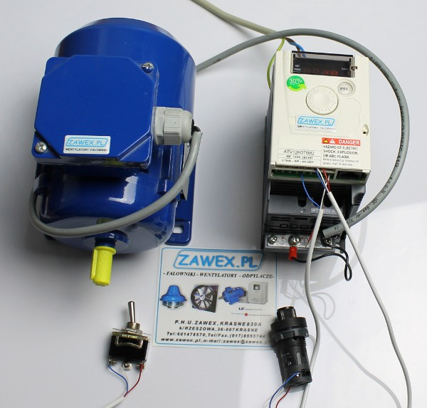 falownik altivar atv12, potencjometr i przełącznik