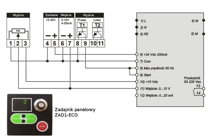 Schemat falownika do silników jednofazowych